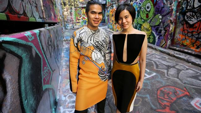 Indonesian designers Patrick Owen and Peggy Hartanto at the Melbourne Fashion Festival. Source: News Corp Australia