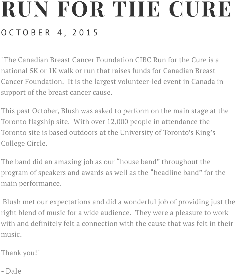 Blush Band Run For The Cure Event Toronto 2015 Canadian Breast Cancer Foundation CIBC Walk Run Charity Fundraiser