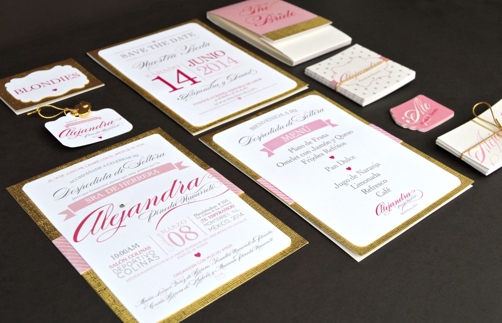 Gold and pink bridal shower branding. Elegant, modern, vintage. Diamond.
