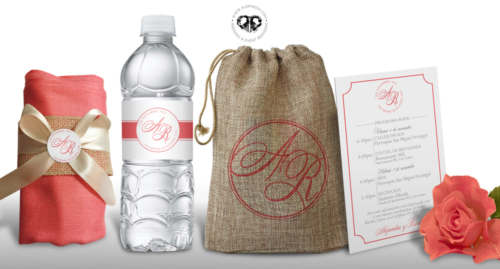 Favor, water bottle, favor bag and itinerary