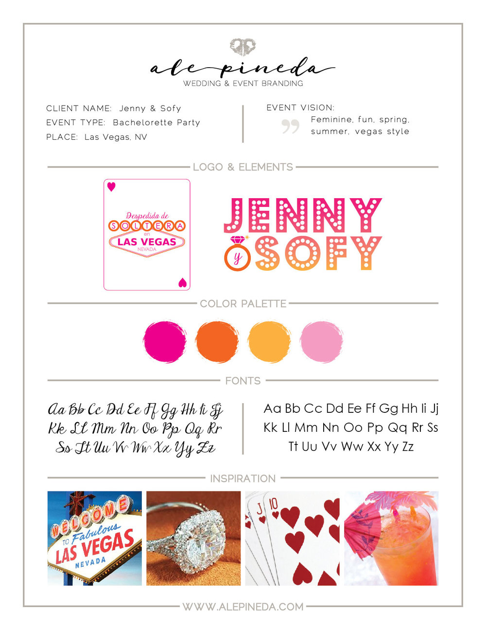 Vegas Bachelorette Party Branding, las vegas, pink, orange, sring, summer, feminine