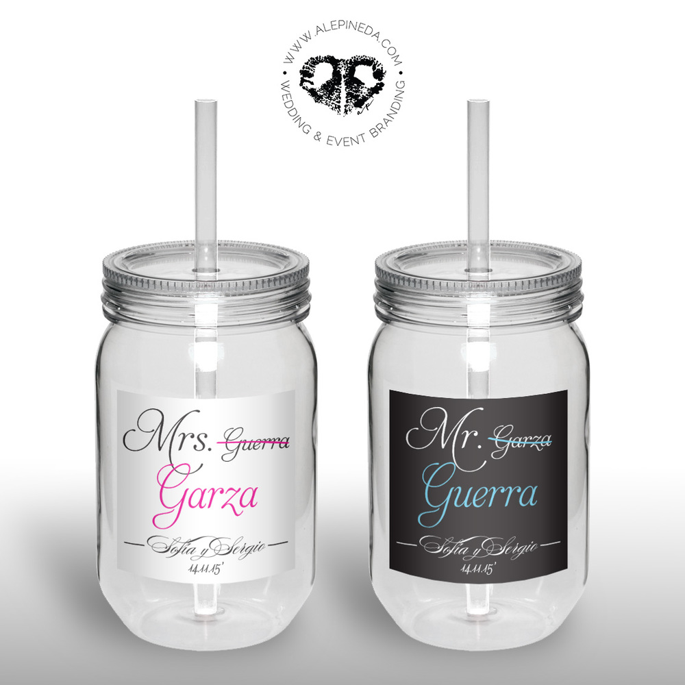 Custom Plastic bride and groom drink bottles, Termos personalizados para boda