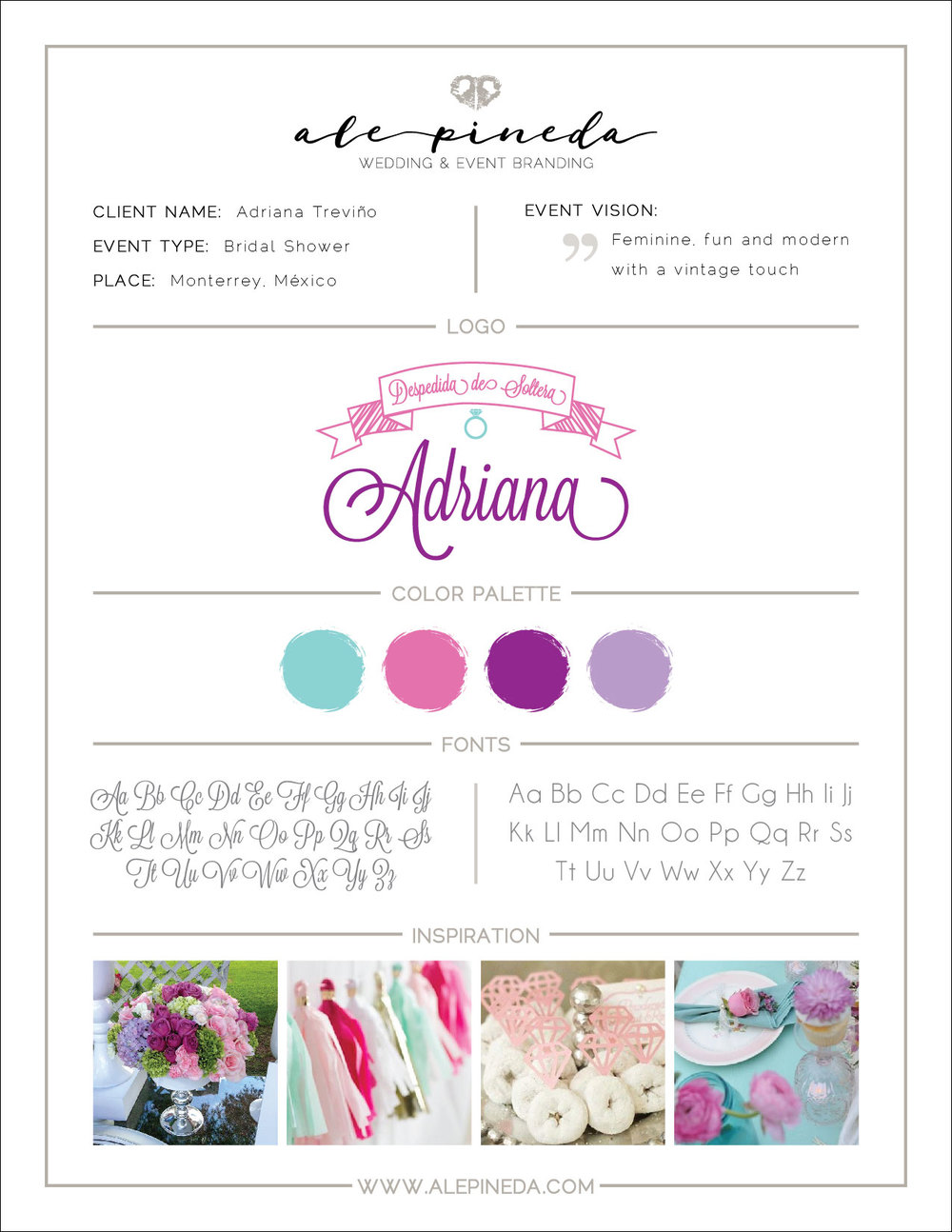 Bridal Shower branding, feminine, fun and modern with a vintage touch. Purple, aqua, pink, lilac