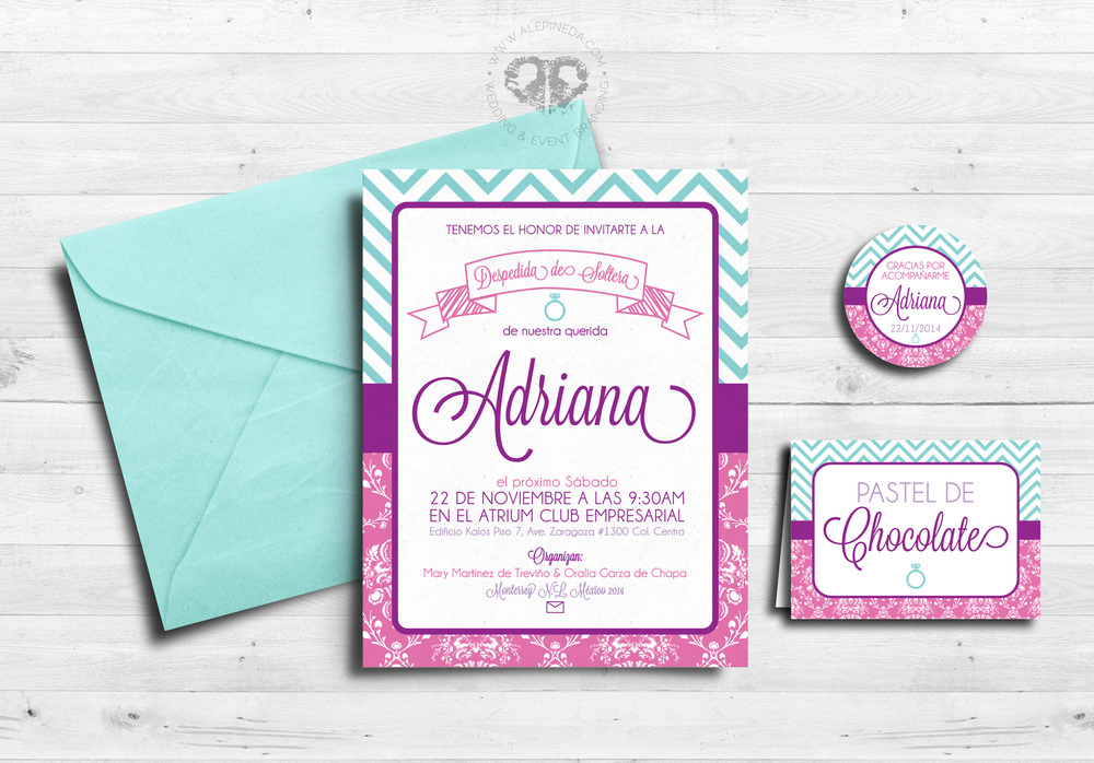 Bridal Shower branding, feminine, fun and modern with a vintage touch. Purple, aqua, pink, lilac. Bridal shower invitation, favor tag and dessert table sign