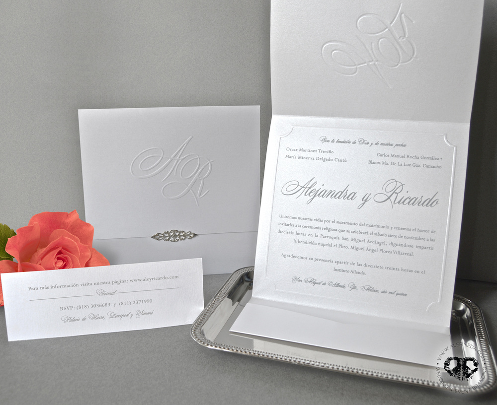 Invitation and RSVP card: mexican colonial wedding, elegant and classy