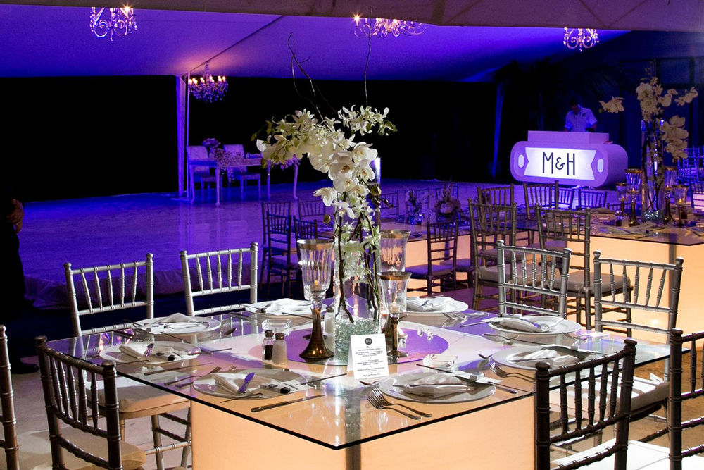 Contemporary wedding table number and menu