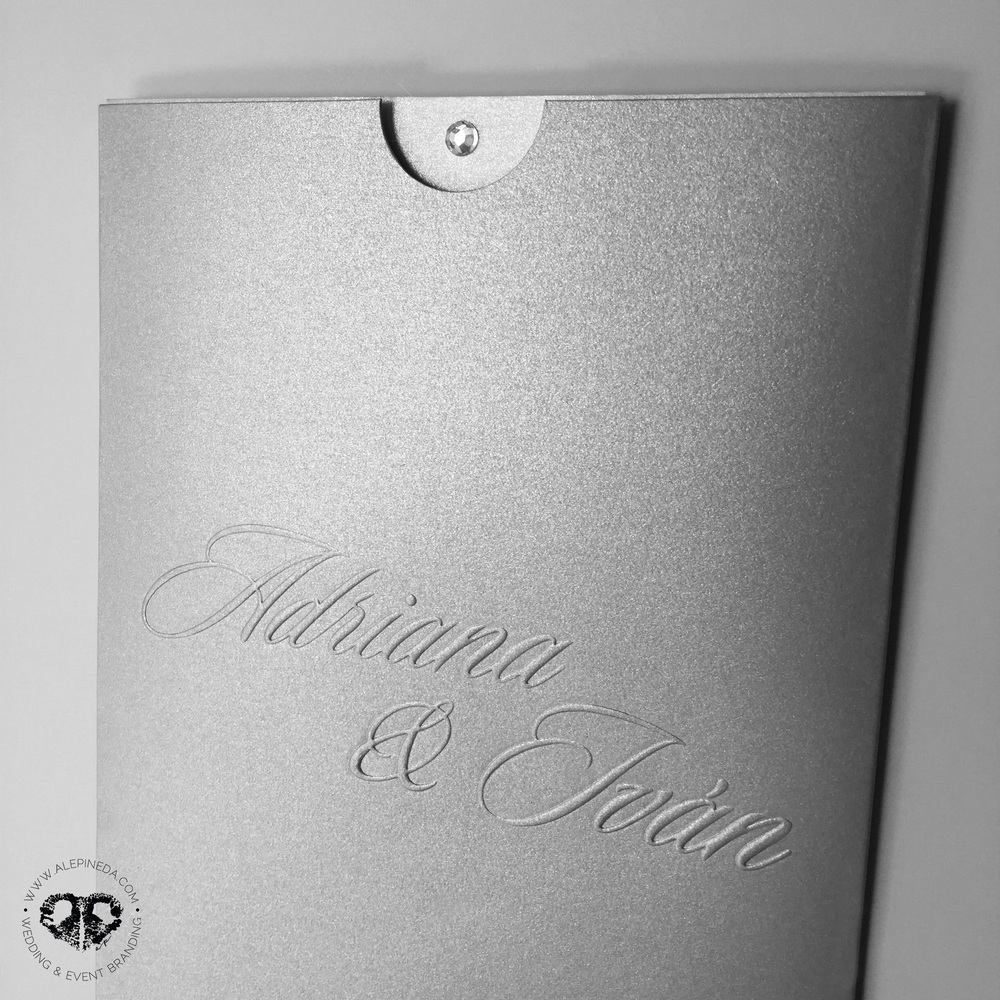 Diamond wedding invitation. Pocket sleeve envelope. Modern, contempo, elegant.