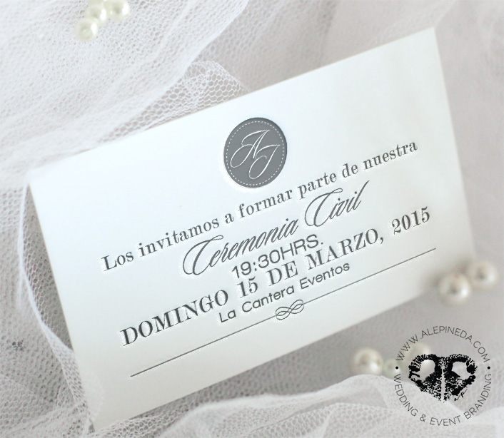 Civil wedding invitation. Modern, contempo, elegant.