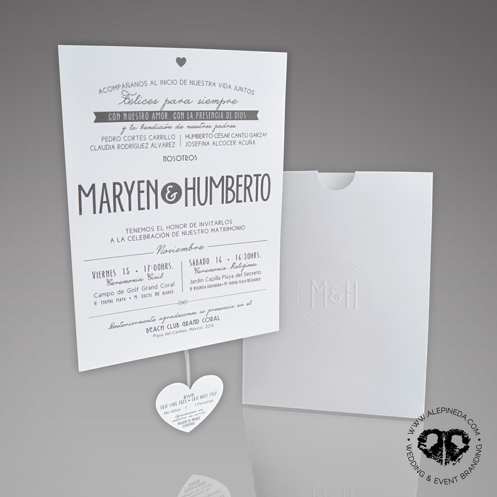 Contempo beach wedding branding.  Sober but fun and unique. Missal, pocket sleeve invitation, RSVP card, menu, table number, hangover kit, thank you card