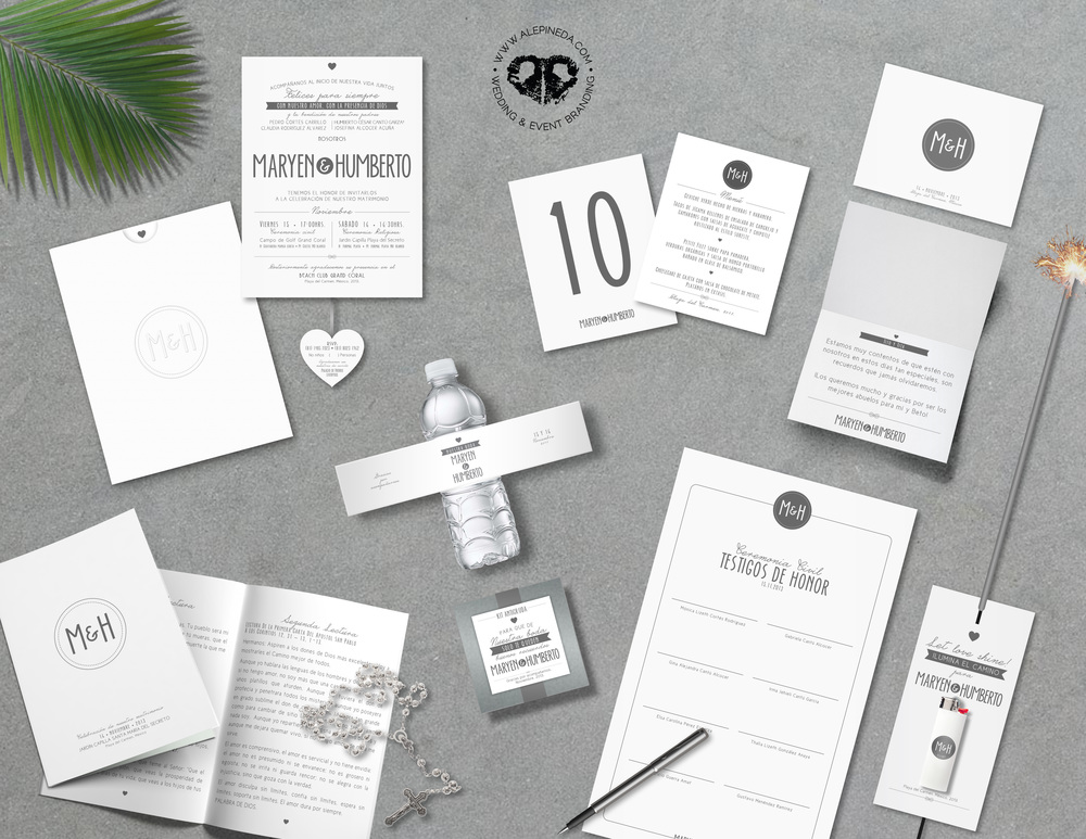 Contempo beach wedding branding.  Sober but fun and unique. Missal, pocket sleeve invitation, RSVP card, menu, table number, hangovr kit, thank you card