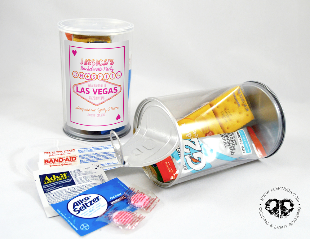 Unique Las Vegas Bachelorette hangover kit. Oh shit kit. Kit Anti Cruda