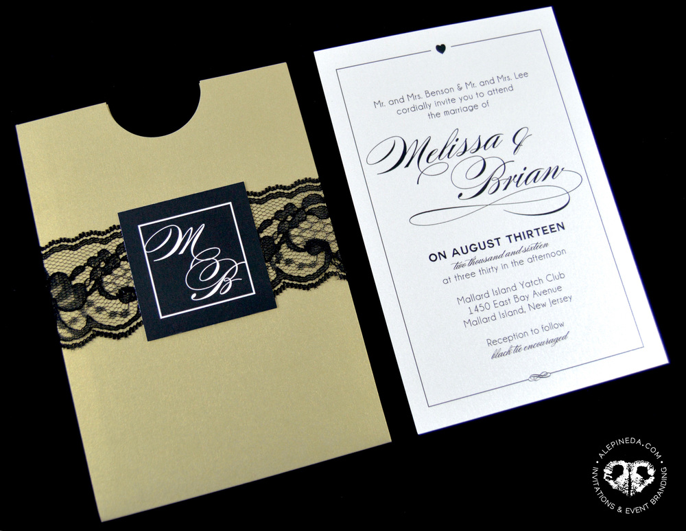 GOLD BLACK LACE Wedding invitation