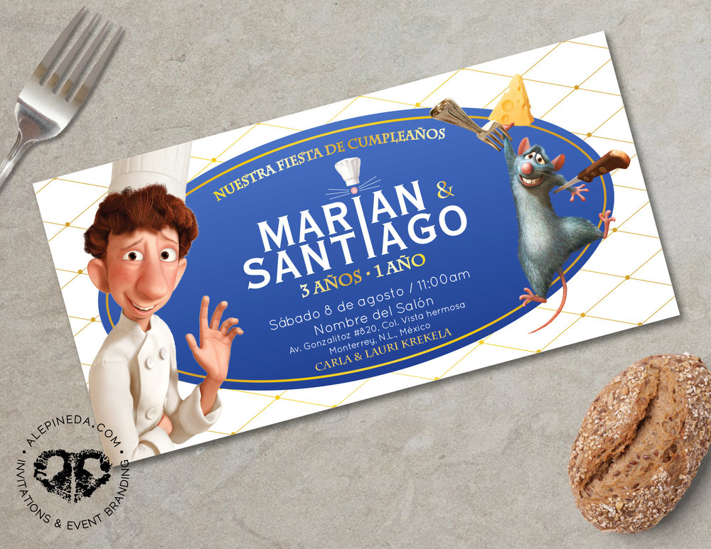 ratatouille birthday invitation, disney, chef
