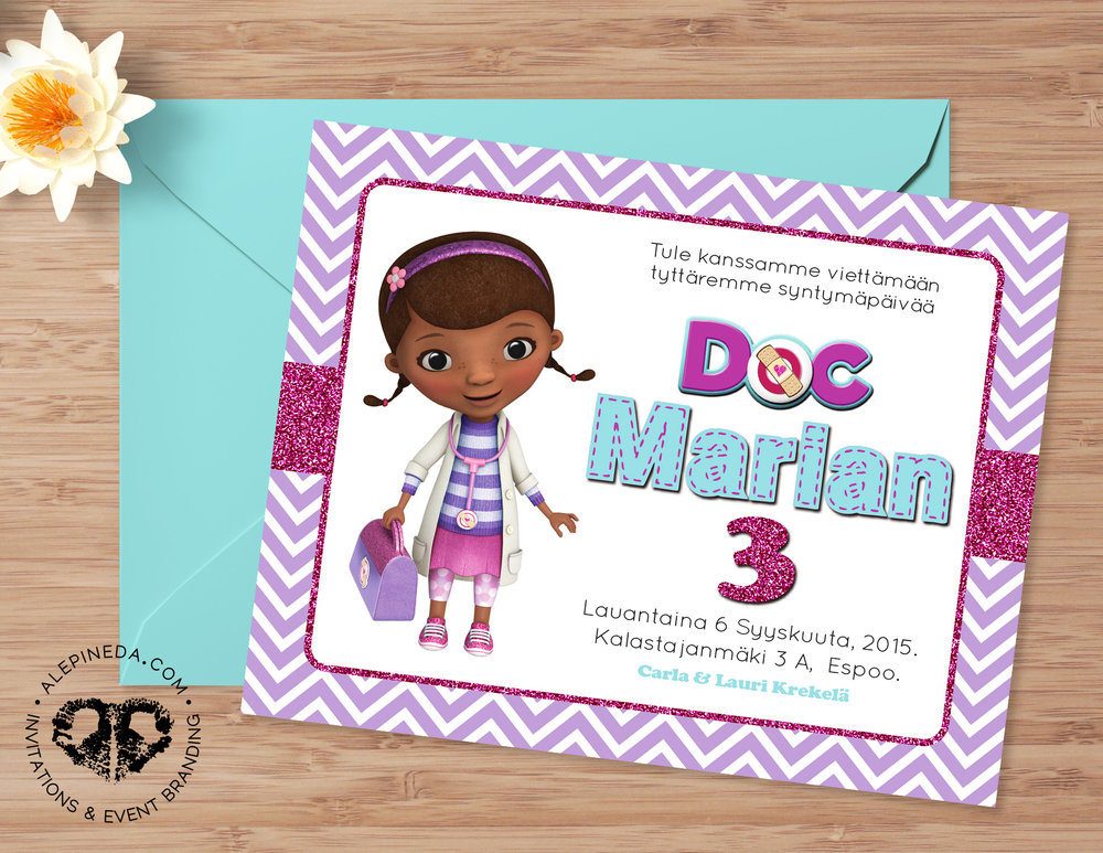 doc mcstuffins birthday invitation, glitter, cute