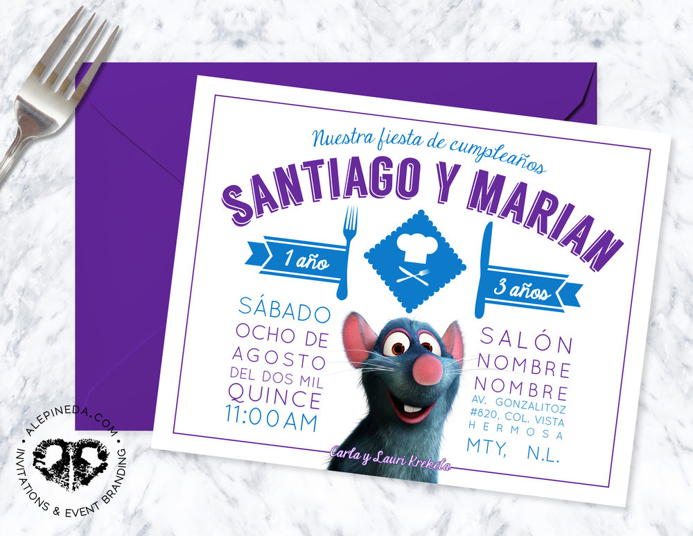 ratatouille birthday invitation, disney, chef, modern