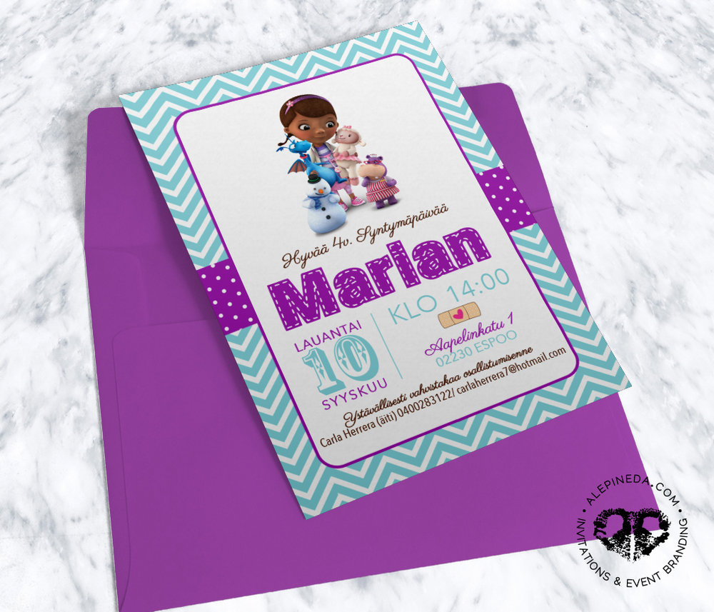 doc mcstuffins birthday invitation, cute