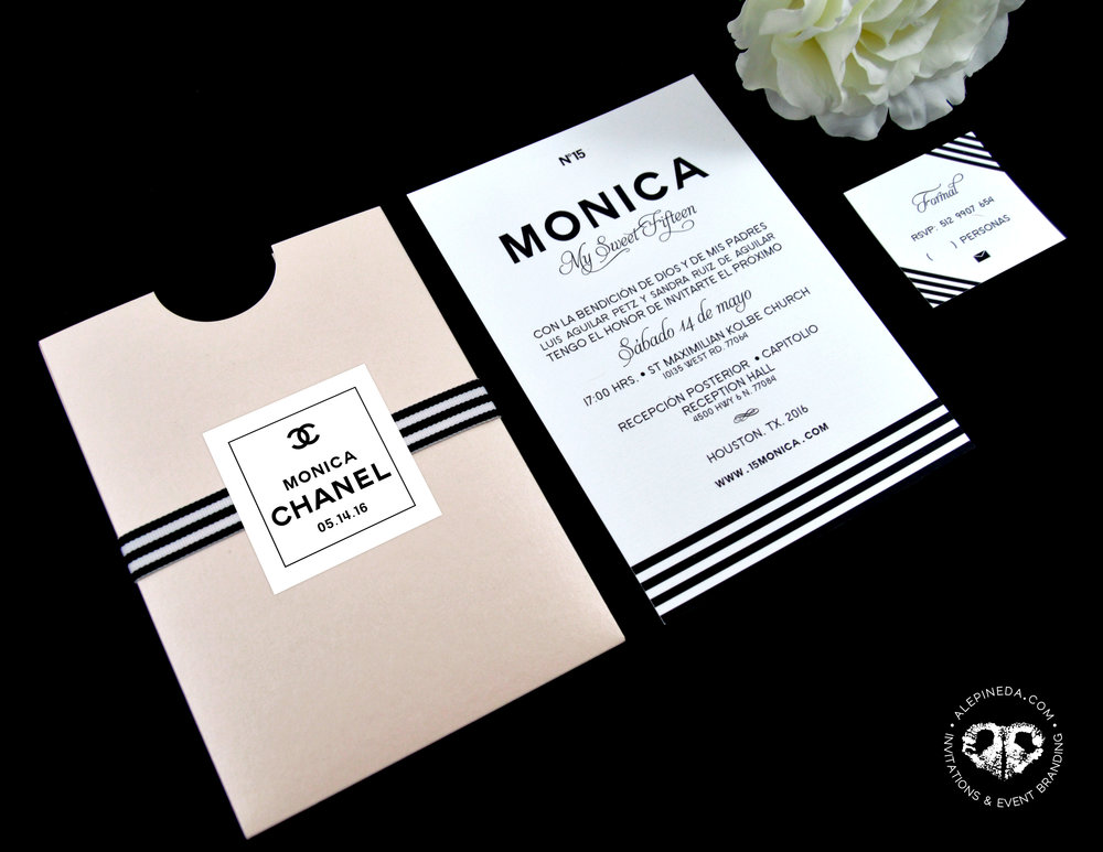 Chanel theme Quinceañera/ Sweet 16 Branding. Invitation.