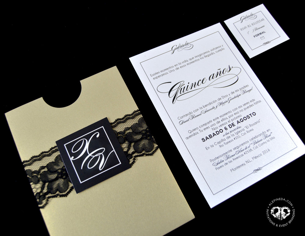 Elegant Gold and black Quinceañera invitation. Fancy. Black Lace. Pocket. Unique. XV Quinceanera. Sweet 16 invitation