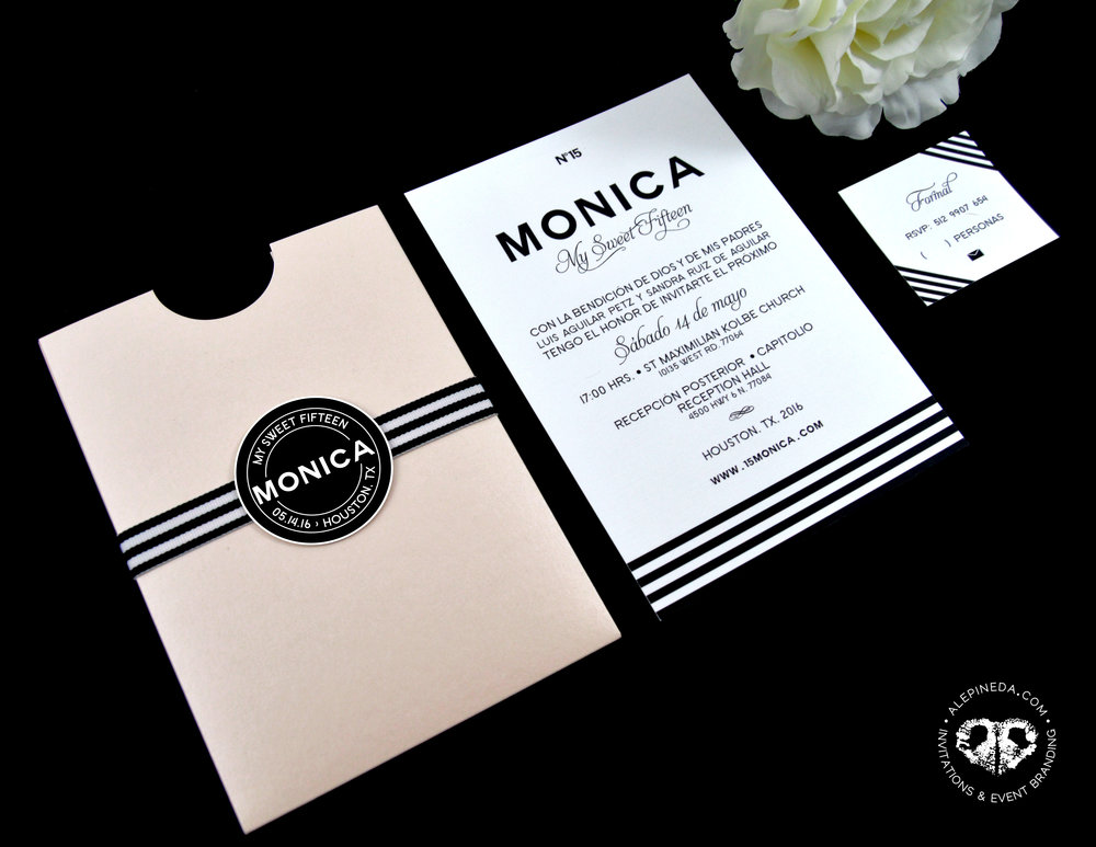 Elegant Quinceañera invitation, sweet sixteen, seet 16, nude, stripes, black and white, pocket