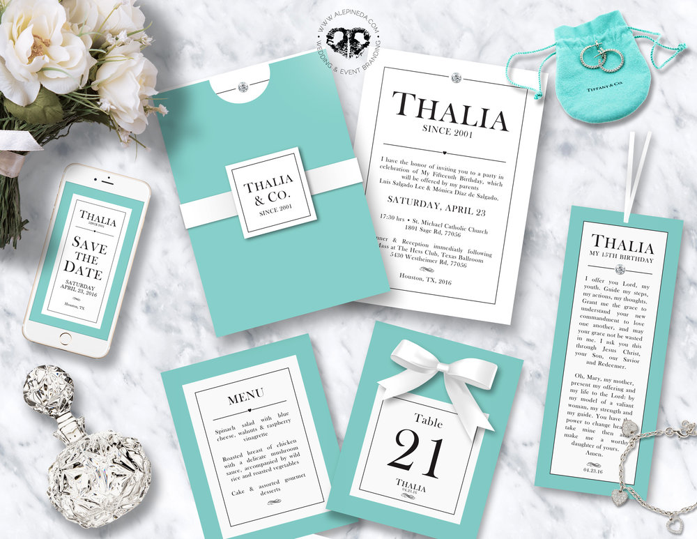 Quinceañera / Sweet 16 Tiffany & Co. Branding. Invitation, save the date, menu, table number, prayer. Diamond, white ribbon.