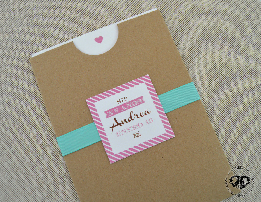 Vintage Kraft invitation. Pocket. Unique. XV Quinceanera. Sweet 16 invitation. Aqua ribbon. Pink. Mint. Stripes. Heart.