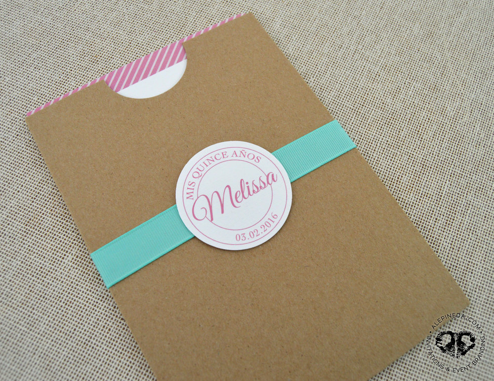 Vintage Kraft invitation. Pocket. Unique. XV Quinceanera. Sweet 16 invitation. Aqua ribbon. Pink. Mint. Stripes