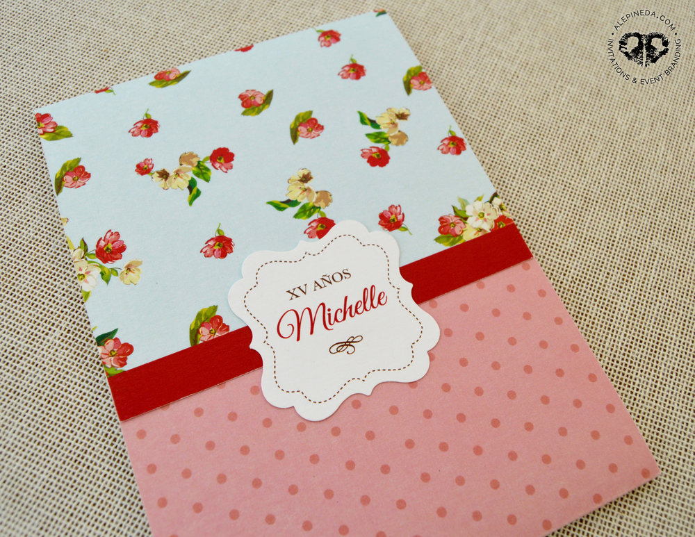 Vintage invitation, modern flowers, roses. Pink, blue, red, brown. Quinceanera, Sweet 16 invitation