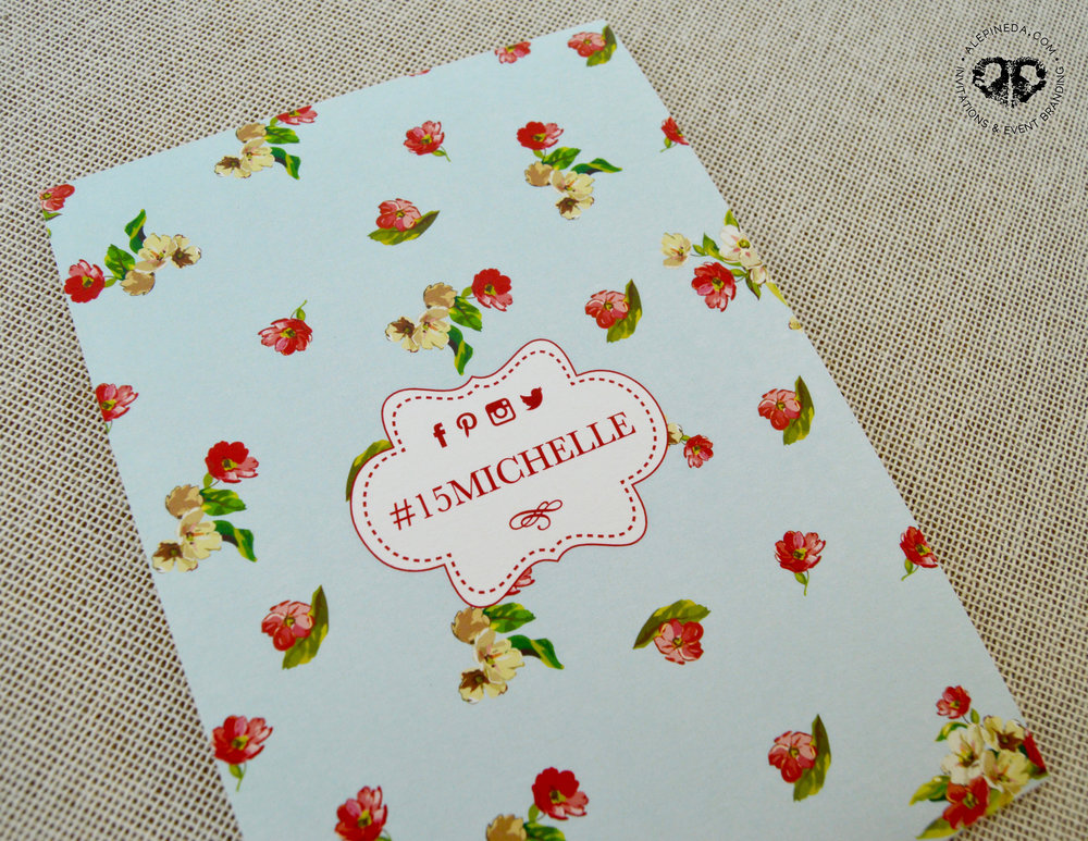 Vintage invitation, modern flowers, roses. Pink, blue, red, brown. Quinceanera, Sweet 16 invitation. Hashtag