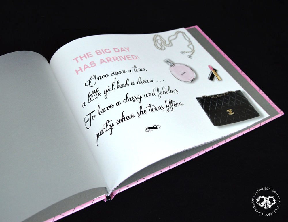 Custom Signature guest book. Sweet 16, quinceanera, chanel theme, pink, black. Qinceañera. Photobook. Album para firmas. Unique.