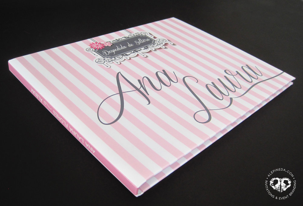 Custom Signature guest book. Bridal shower, wedding, Sweet 16, quinceanera, baby shower. Vintage, pink stripes, victorias secret. Photobook. Album para firmas. Unique.