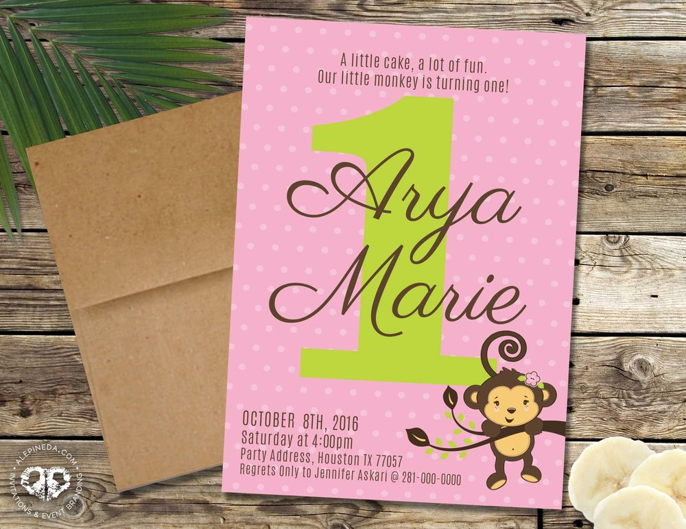 Monkey Girl Birthday Party Invitation. One Year. Pink and green