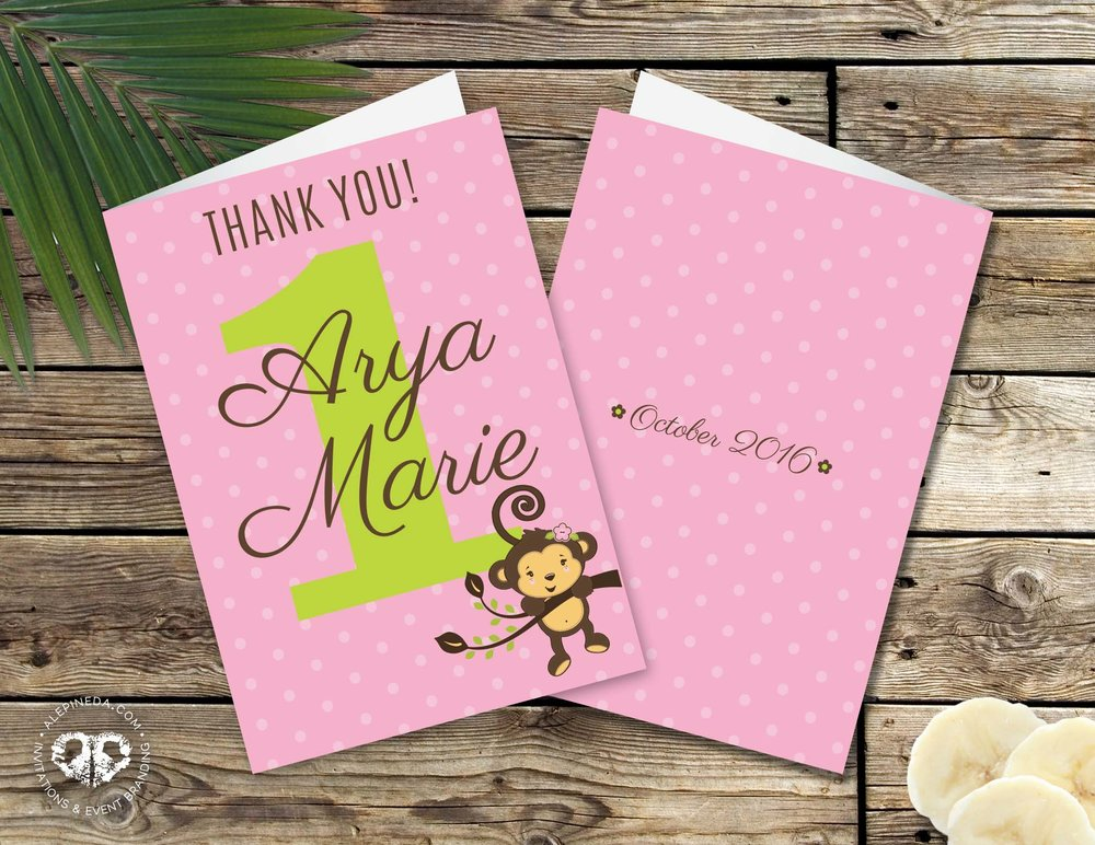 Monkey Girl Birthday Party. One Year. Pink and green. Thank you cards