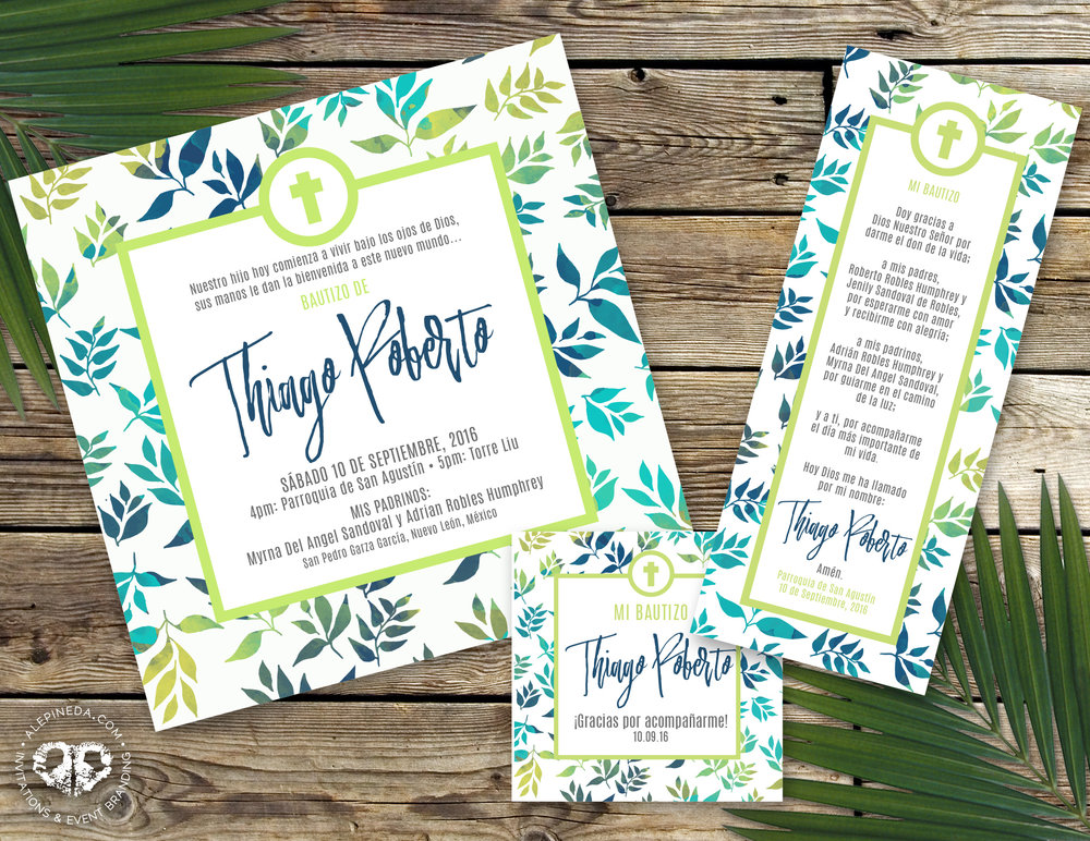 Bautizo invitacion, baptism invitation. Modern, green, blue, leaves, nature. Elegant. Prayer, favor tag.
