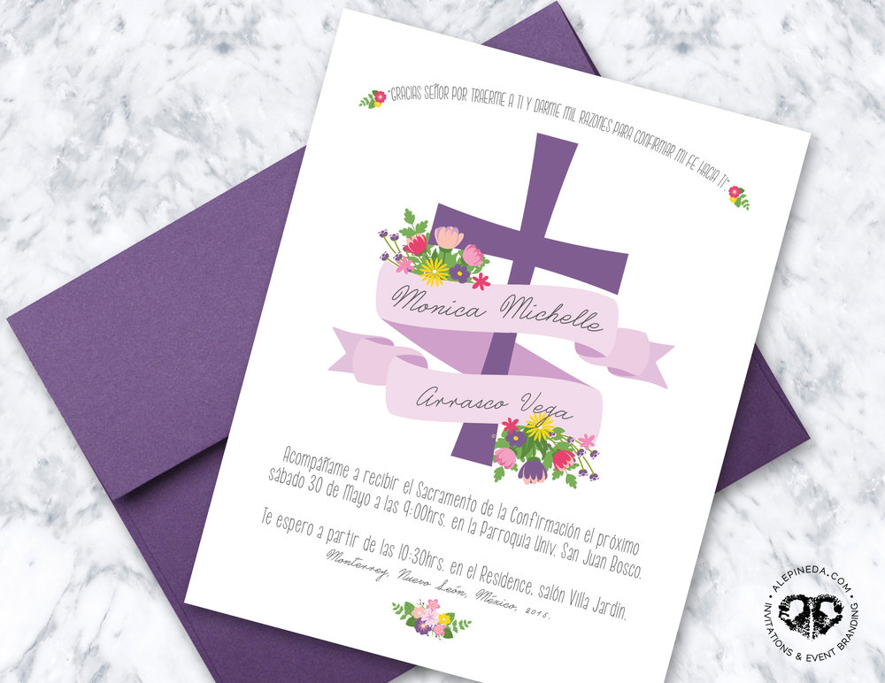 Primera comunion invitacion, bautizo, baptism, first holy communion invitation