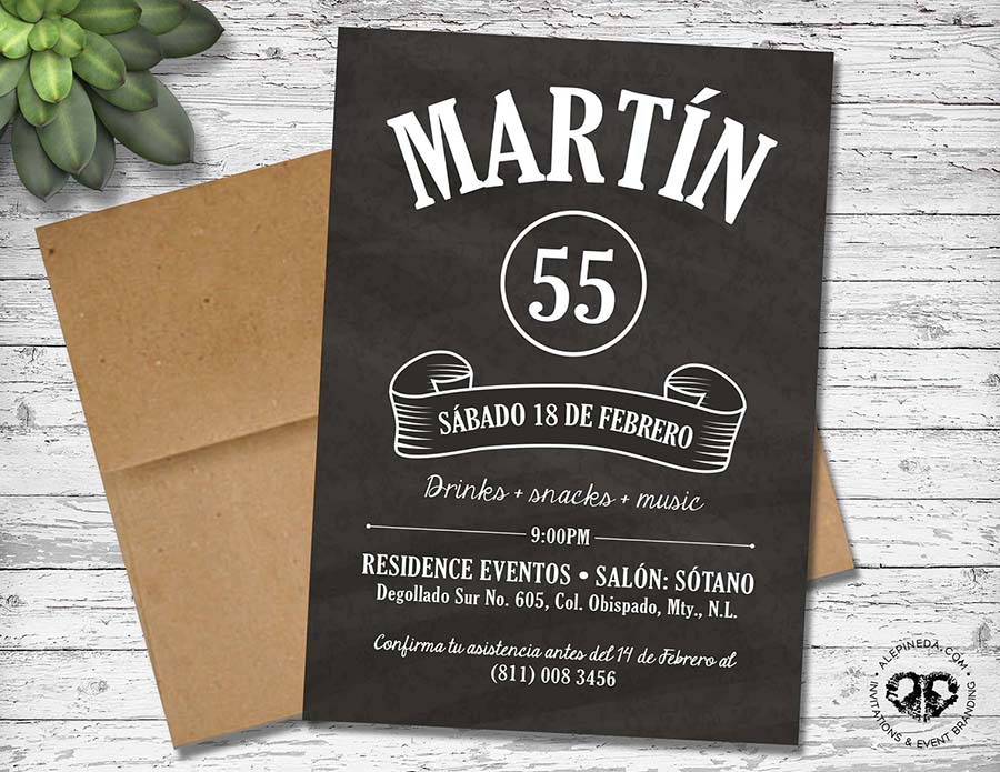 Men birthday party invitation. Black and white. Blackboard. Vintage, kraft, masculine, vintage, modern