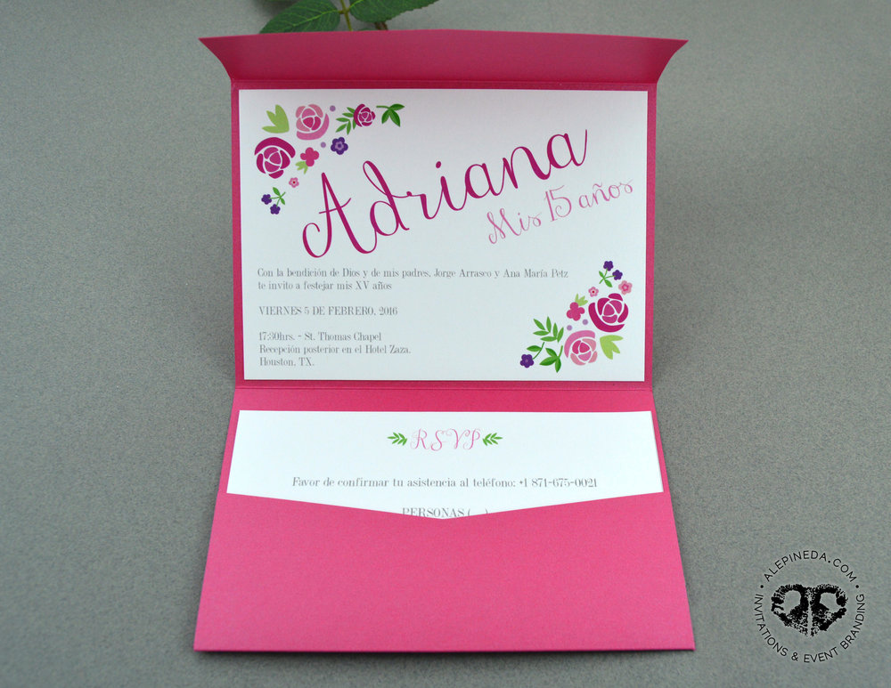 Pocket Elegant Quinceañera invitation. Dark grey, pink, mint, aqua, flowers. Romantic. Unique. XV Quinceanera. Sweet 16 invitation