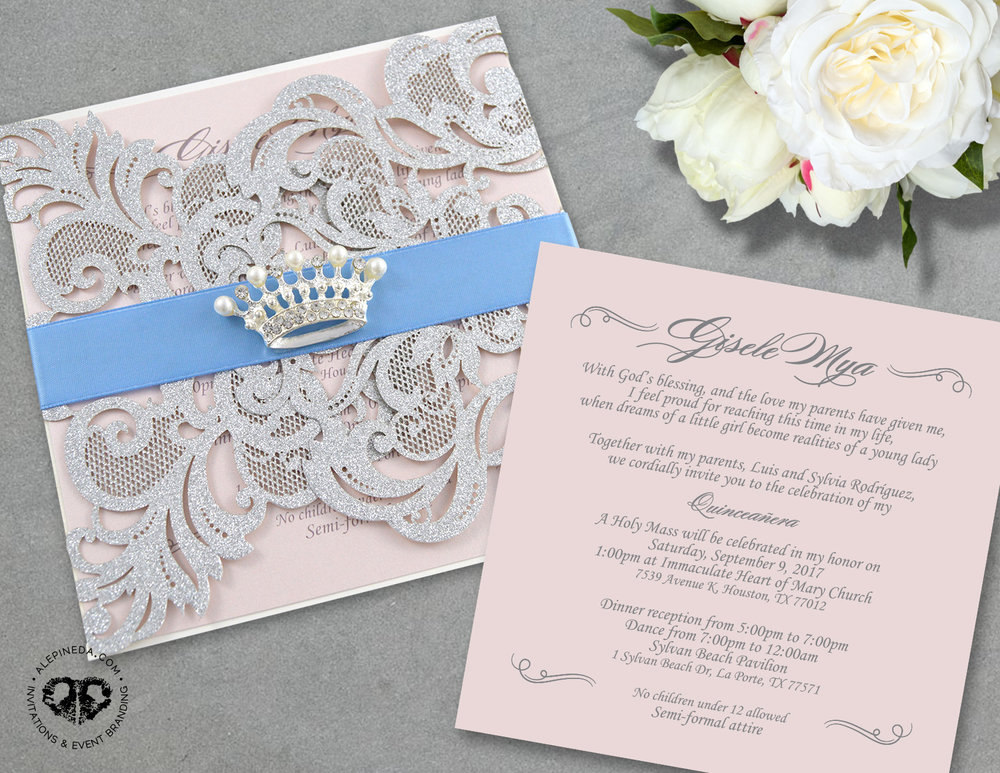 Gisele's Quinceanera invitation by Ale Pineda