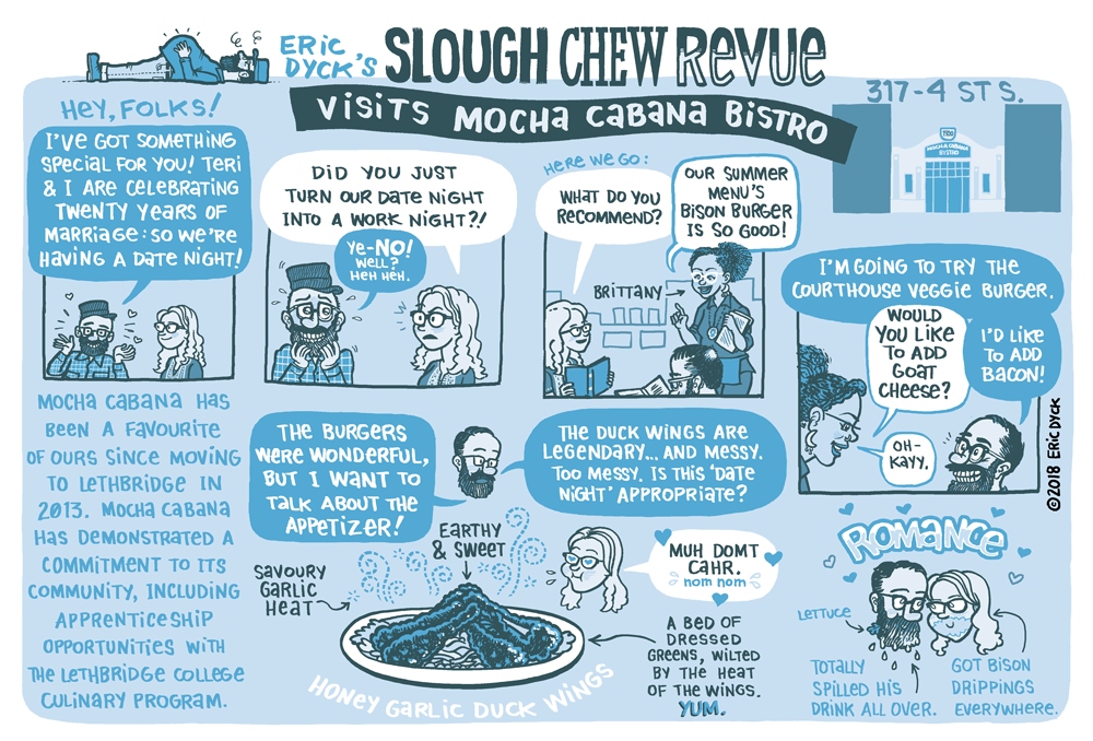 Last month, I visited  Mocha Cabana  with Teri for our anniversary!  Mocha has been a favourite of ours since moving to Lethbridge (Mocha featured in one of the very first Slough comics!).  As always, this Revue was produced with   Lethbridge Living magazine.    You can support more Lethbridge comics at my  PATREON !  Thanks, everyone!