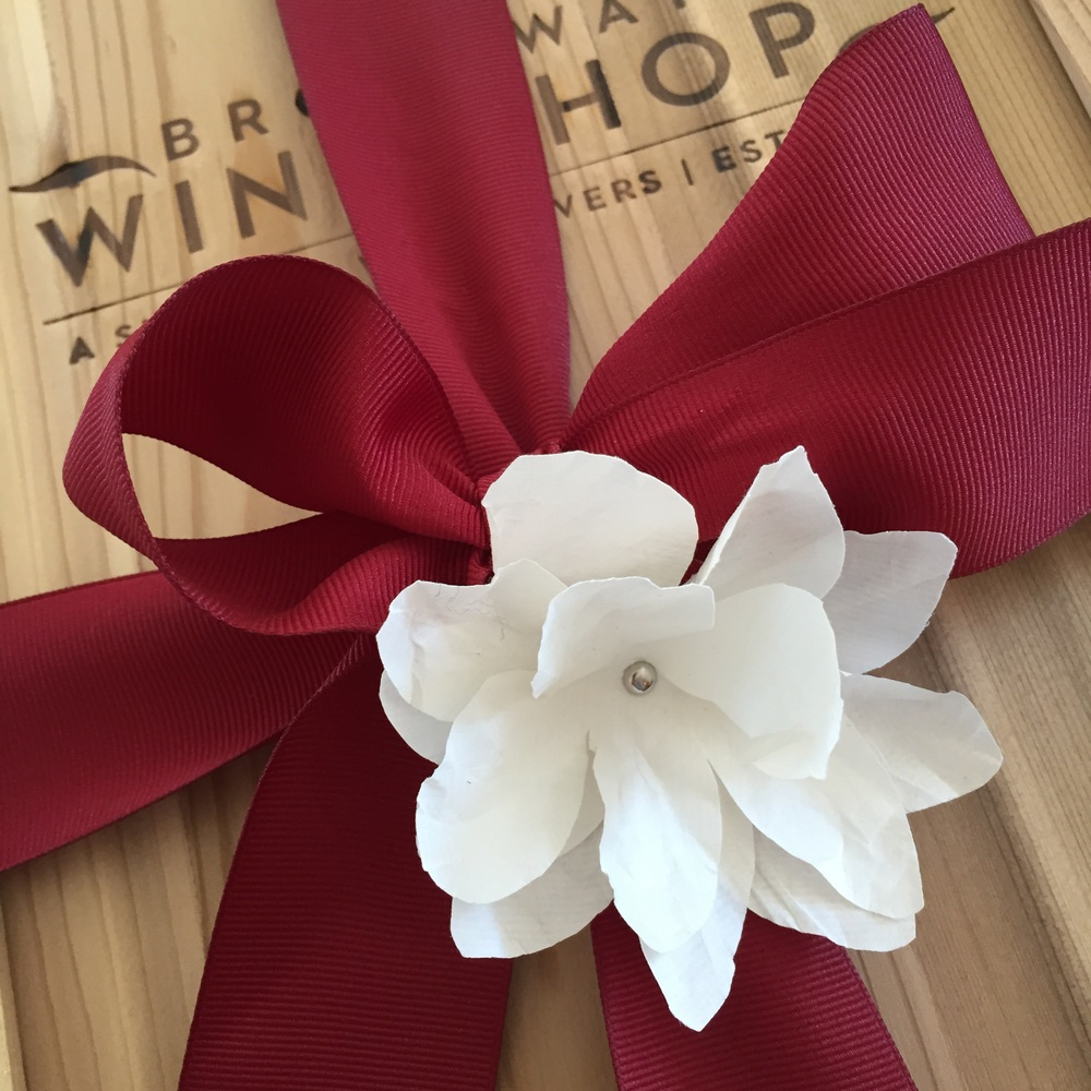 These are a few of the Mother's Day gifting options available. Custom wrapping in a branded wooden wine box.