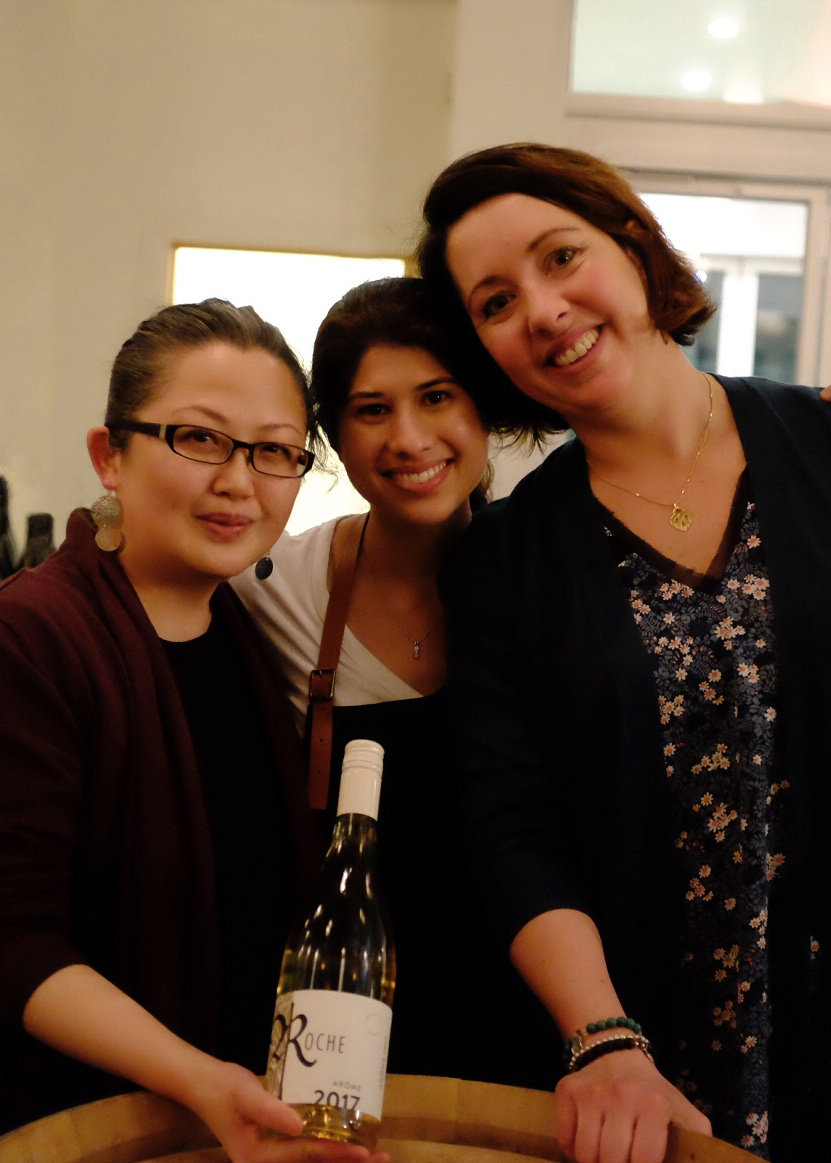 Rosina Reid of Broadway International Wine Shop (yes, it's a rare photo!), Aman Dosanj of The Paisley Notebook and Pénélope Roche of Domaine Roche Vineyard