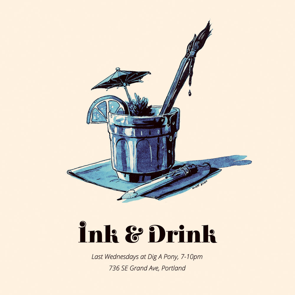 Flier design for Ink & Drink, monthly drawing event to raise money for charities