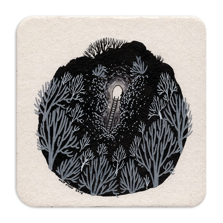 "Coaster drawing for Nucleus Portland's ""SALUT! III"" show"