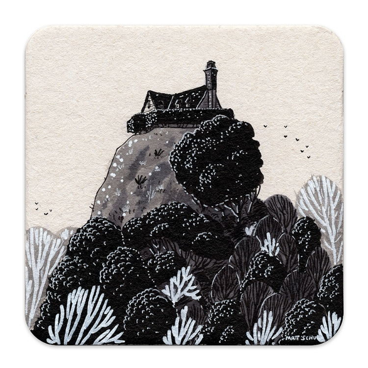 """Coaster drawing for Nucleus Portland's """"SALUT! III"""" show"""