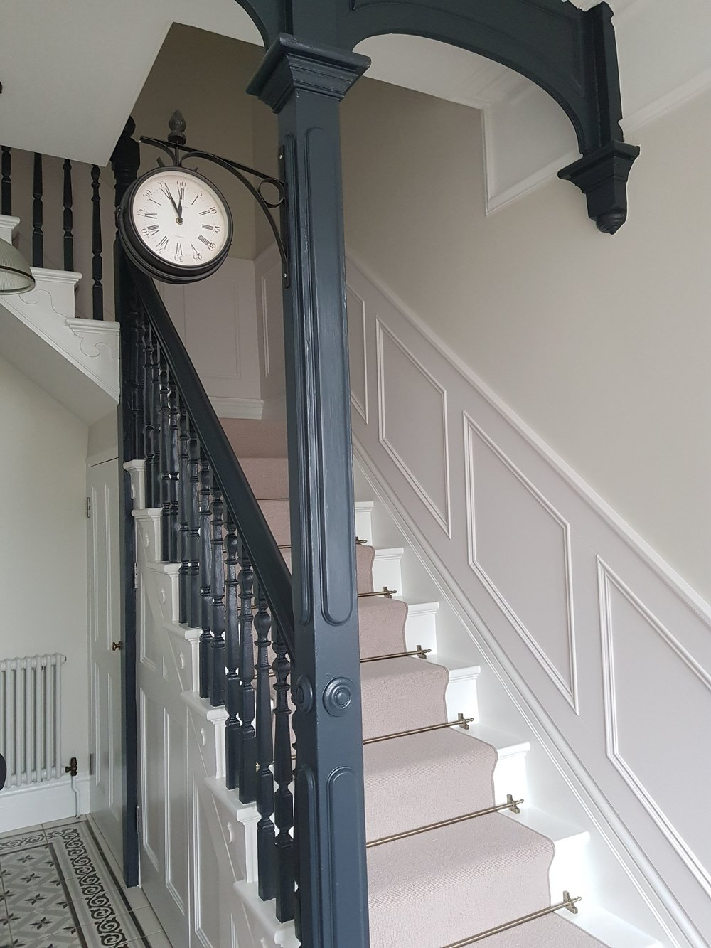 Hall, stairs & landing painted completed with Benjamin Moore paints in Old town, Swindon