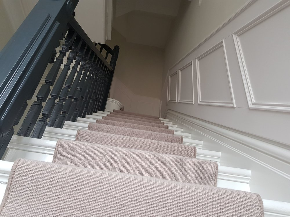 Hall, stairs & landing painted with Benjamin Moore paints in Old town, Swindon