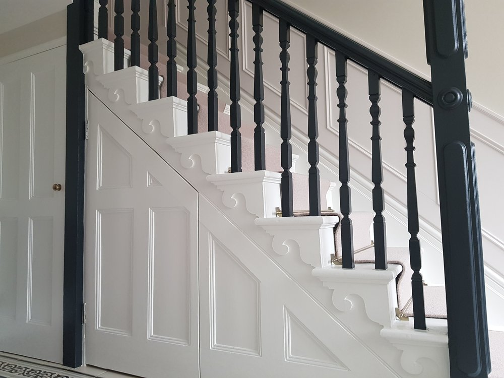 Hall, stairs & landing decorated with Benjamin Moore paints in Old town, Swindon