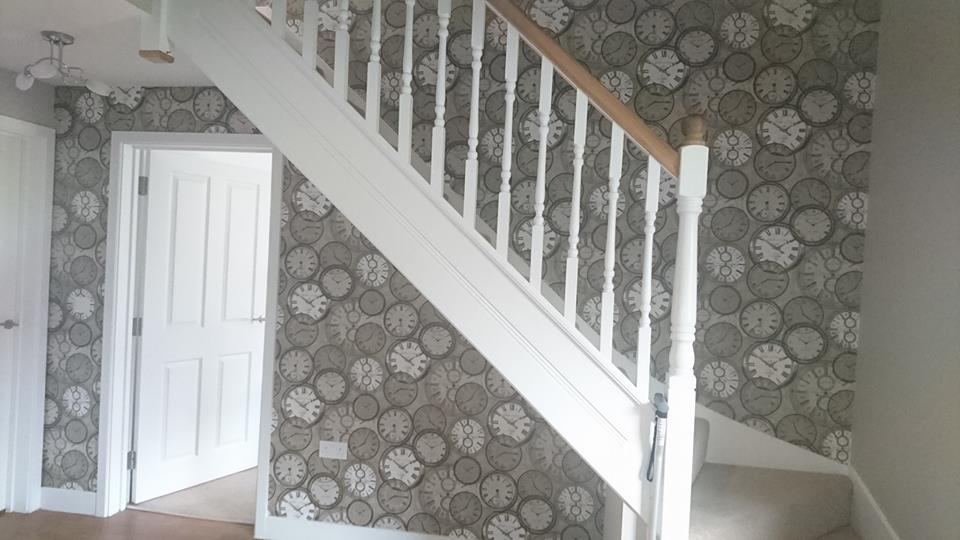 Feature wallpaper in hall, stairs & landing. Tadpole garden village, Swindon, Wiltshire