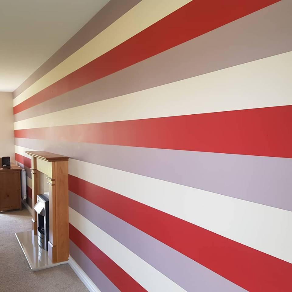 10 metre long feature stripped wallpaper in Swindon, Wiltshire
