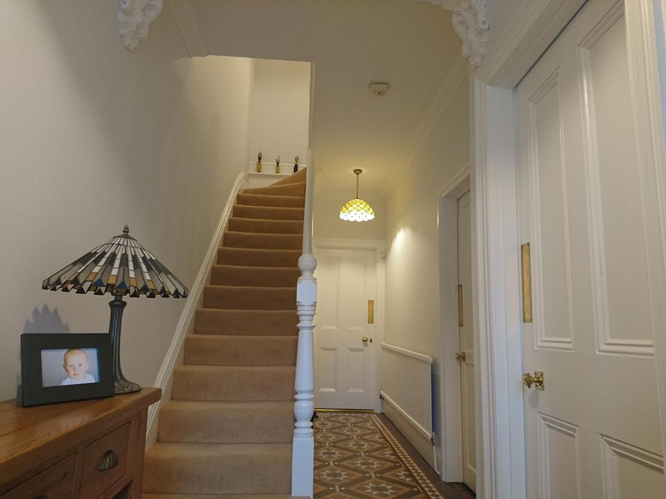 Hall, stairs & landing painting and decorating. Completed with Benjamin Moore paints in Old town, Swindon