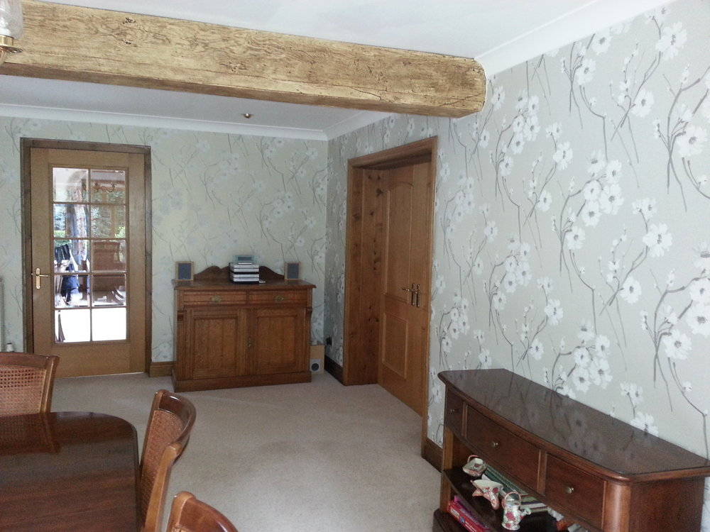 Dining room painted and wallpapered in Cricklade, Wiltshire